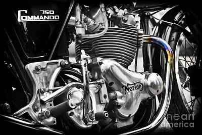 Selecting Photograph - Norton Commando 750cc Cafe Racer Engine by Tim Gainey