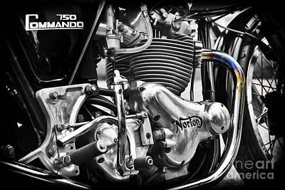 1970s Photograph - Norton Commando 750cc Cafe Racer Engine by Tim Gainey