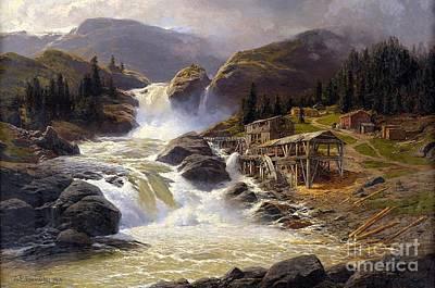 Norwegian Waterfall Painting - Norwegian Waterfall With Sawmill  by Themistokles von Eckenbrecher