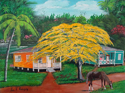 Flamboyan Tree Painting - Nostalgia by Luis F Rodriguez