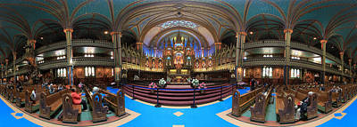 Notre-dame Basilica Of Montreal  Pano1 Print by Nick RUXANDU