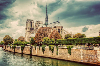 Seine Photograph - Notre Dame Cathedral In Paris, France And The Seine River by Michal Bednarek