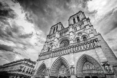 Paris Photograph - Notre Dame Cathedral In Paris, France In Black White by Michal Bednarek