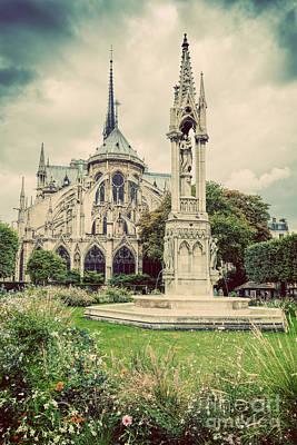 Paris Photograph - Notre Dame Cathedral In Paris, France. Square Jean Xxiii. Vintage by Michal Bednarek