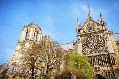 Windows Photograph - Notre Dame Rose Window Textured by Joan Carroll