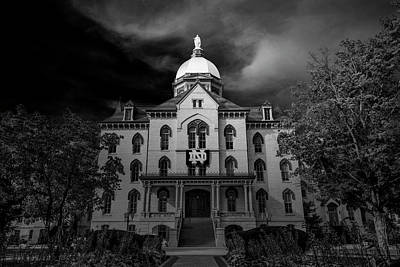 Notre Dame Photograph - Notre Dame University Black White 3a by David Haskett