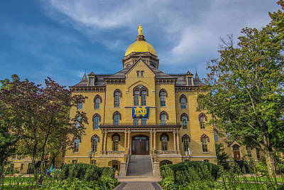 Notre Dame Photograph - Notre Dame University Golden Dome by David Haskett