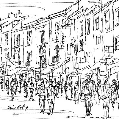 London Skyline Drawing - Notting Hill London by Brian Keating