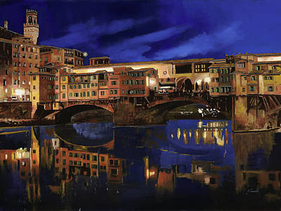 Reflections Painting - Notturno Fiorentino by Guido Borelli