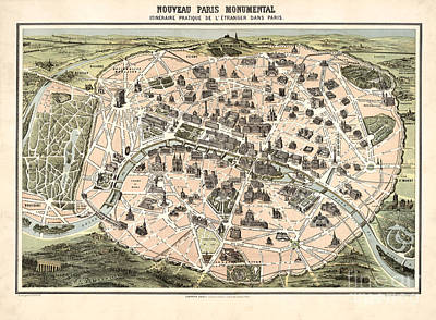 Vintage Map Painting - Nouveau Paris Monumental - 1878 by Pablo Romero