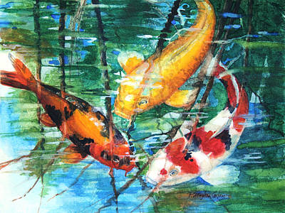 Water Reflections Painting - November Koi by Patricia Allingham Carlson