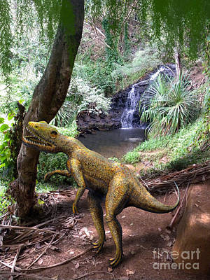 Dinosaur Mixed Media - Novenator Near Waterfalls by Frank Wilson