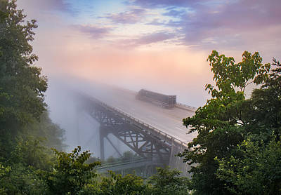 Nrb184 New River Bridge In The Fog Print by Mary Almond