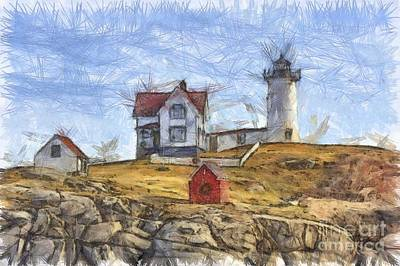 Nubble Light Cape Neddick Lighthouse Sohier Park York Maine Pencil Print by Edward Fielding