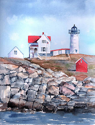 Maine Lighthouses Painting - Nubble Lighthouse - Maine by Arline Wagner