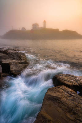 Nubble Morning Fog Print by Darren White