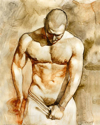 Watercolor Painting - Nude 43 by Chris  Lopez