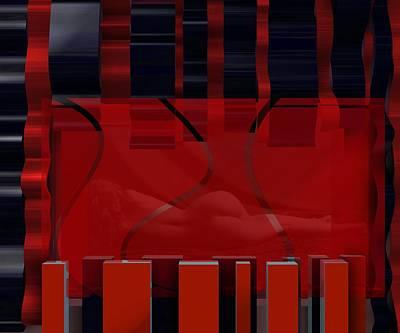 Nude Digital Art - Nude And Waves In Red by Alberto  RuiZ