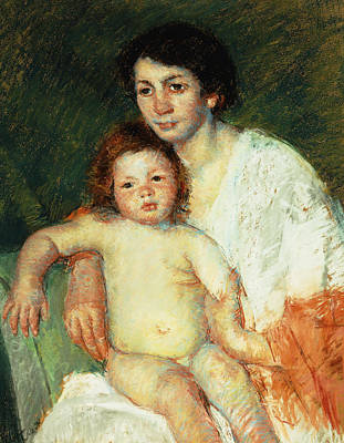Nude Baby On Mother's Lap Resting Her Right Arm On The Back Of The Chair Print by Mary Stevenson Cassatt