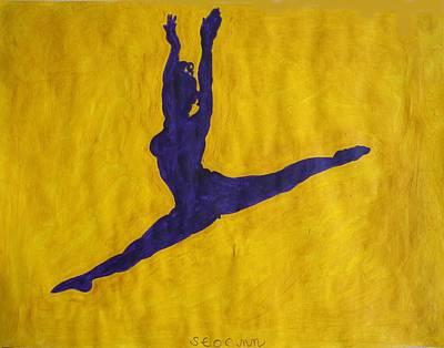 Ballet Painting - Nude Ebony Ballerina Split Leap by Stormm Bradshaw