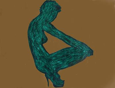 High Side Painting - Nude Ebony In Heels by Stormm Bradshaw