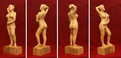 Nude Female Impressionistic Wood Sculpture Donna Print by Mike Burton