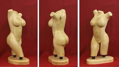 Nude Female Wood Torso Sculpture Roberta    Print by Mike Burton