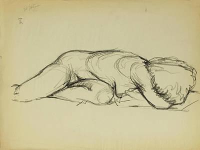 Nude Figure Study Sketch Original by Erik Schutzman