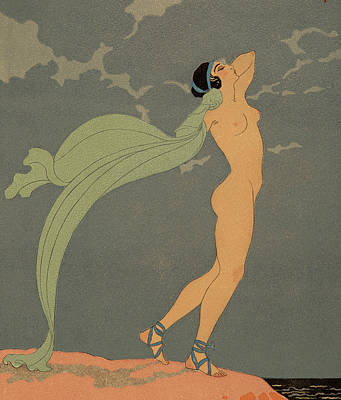 Edge Drawing - Nude   Le Silence De Mnasidika by Georges Barbier