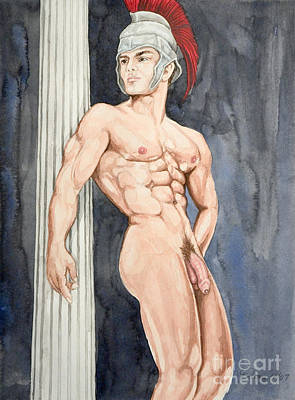 Descendant Painting - Nude Male Spartan by The Artist Dana