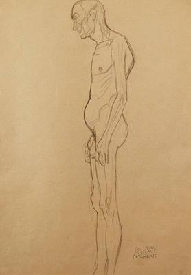 Nude Man Print by Gustav Klimt