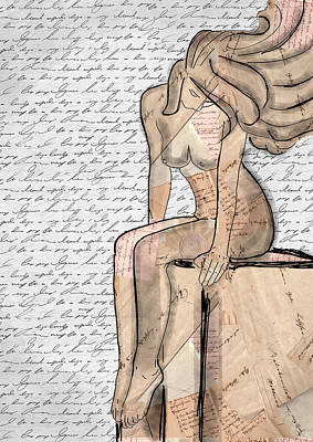 Undressing Mixed Media - Nude No 6 Mixed Media by Mihaela Pater