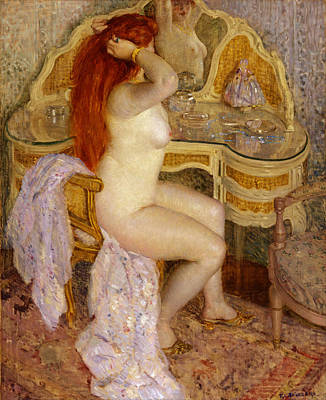 Frederick Carl Frieseke Painting - Nude Seated At Her Dressing Table by Frederick Carl Frieseke