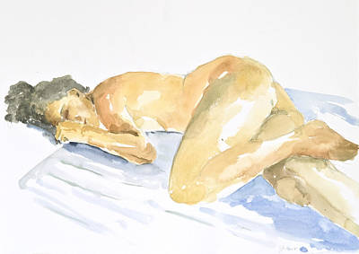 Watercolor Figure Painting - Nude Serie by Eugenia Picado