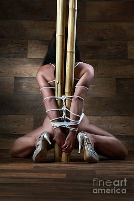 Art Nude Erotic Bondage Photograph - Nude, Tied To A Bamboo Tube - Fine Art Of Bondage by Rod Meier