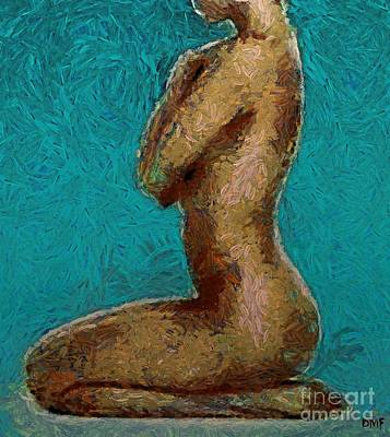 Wall Painting - Nude Turquise by Dragica  Micki Fortuna