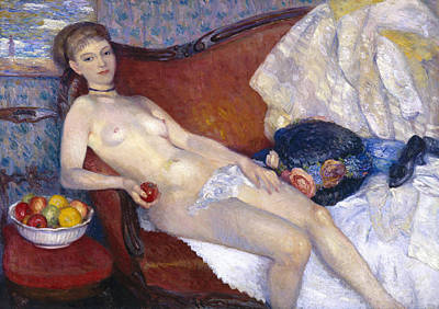 Nude With Apple Print by William Glackens