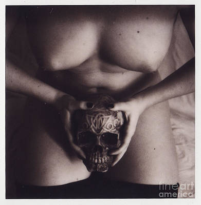 Nude Polaroid Photograph - Nude With Skull  by Andrea S