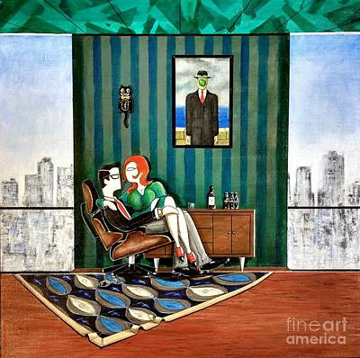 Executive Sitting In Chair With Girl Friday Original by John Lyes