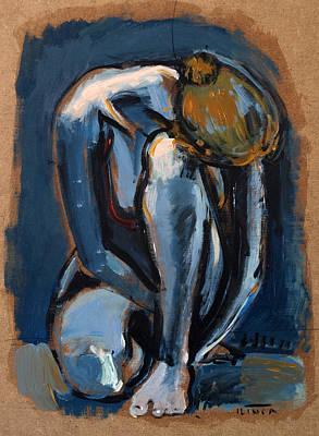 Nude Woman Sitting On Floor Original by Catalin ILINCA