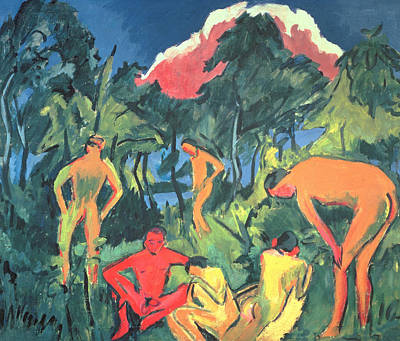 Nudes In The Sun, Moritzburg Print by Ernst Ludwig Kirchner