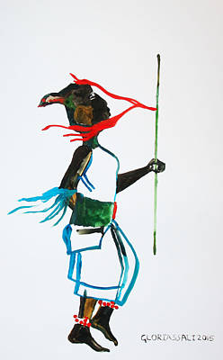 Gloria Painting - Nuer Dance - South Sudan by Gloria Ssali