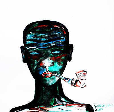 Gloria Mixed Media - Nuer Lady With Pipe - South Sudan by Gloria Ssali