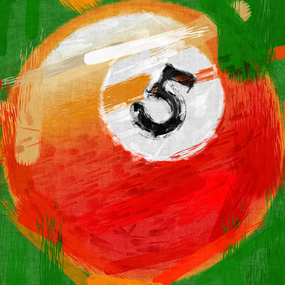 Number Five Billiards Ball Abstract Print by David G Paul