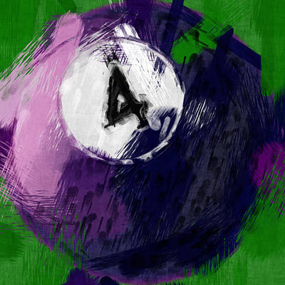 Number Four Billiards Ball Abstract Print by David G Paul
