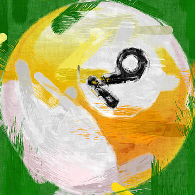 Number Nine Billiards Ball Abstract Print by David G Paul
