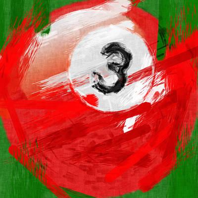 Sports Digital Art - Number Three Billiards Ball Abstract by David G Paul