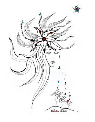 Flowers Drawing - Nurturing You - Art By Valentina Miletic by Valentina Miletic