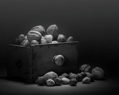 Nuts In Black And White Print by Tom Mc Nemar