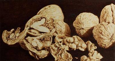 Pirogravura Pyrography - Nuts by Juan Carlos Gonzalez